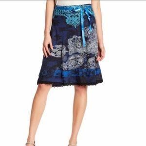 Desigual Deliney Lace Print A-Line Skirt Size L